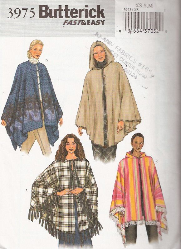 poncho | Stuff | Pinterest | Ponchos, Sewing patterns and Fleece hats