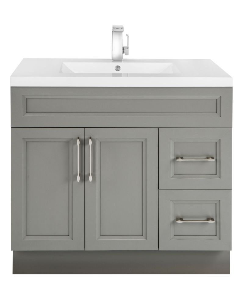 Fossil 36 Inch W 2 Drawer 2 Door Freestanding Vanity In Grey With Acrylic Top In White Bathroom Vanity 36 Inch Bathroom Vanity Bathroom Cabinets Designs