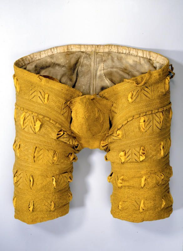 Znalezione obrazy dla zapytania Herrenhose (Vorderseite) Gelbe Seide