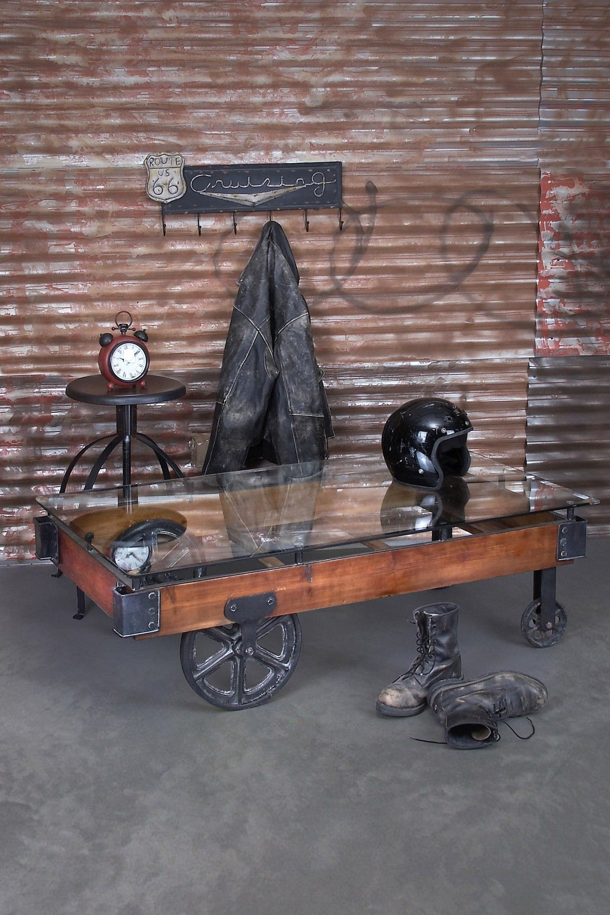 Rustic Vintage Furniture Wood Amp Glass Cart Coffee Table