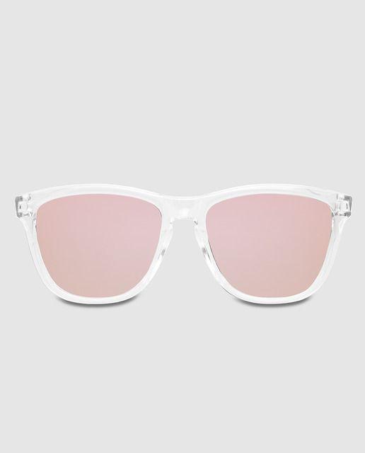 8dcfadf307 Gafas de sol unisex con montura rectangular de pasta transparente.