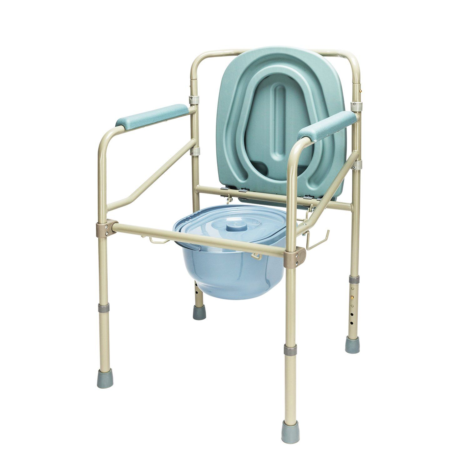 Mefeir Heavy-Duty Steel Commode Toilet Chair 330LBS, Medical Supply ...