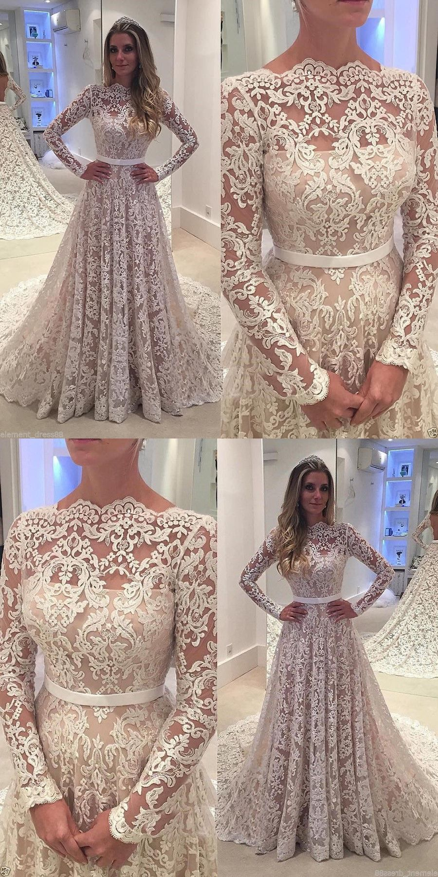 Glamorous aline bateau long sleeves lace sash court train wedding