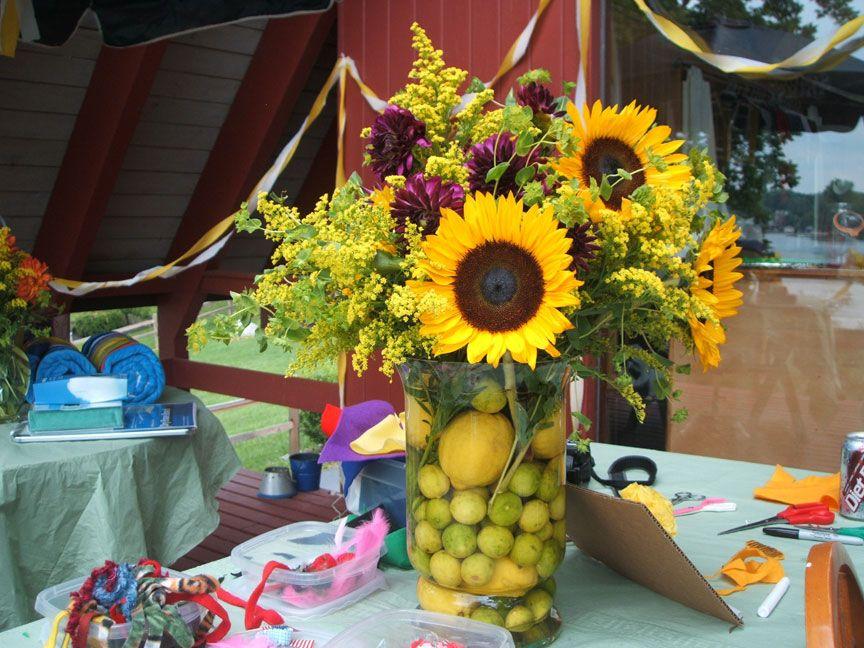Bridal shower centerpiece sunflower centerpieces