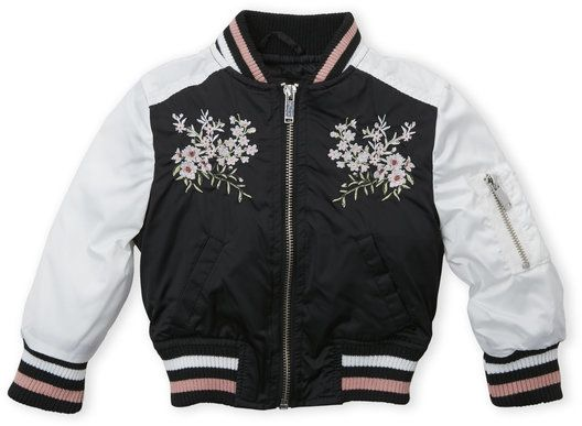 d372f98caf7e Toddler Girls) Black   White Sateen Embroidered Floral Bomber Jacket ...