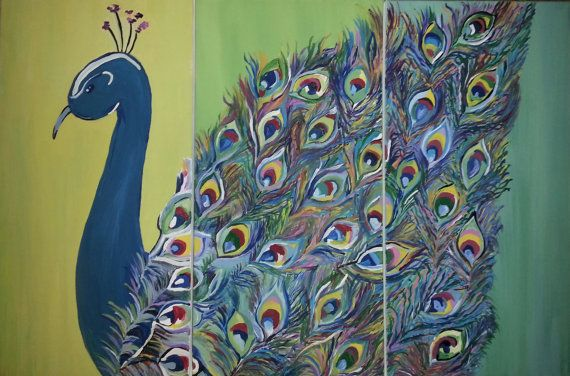 3 Panel 12 x 24 Acrylic Peacock Painting Flying by ...