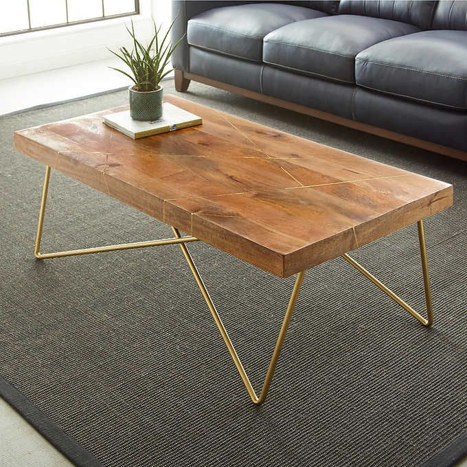 thane coffee table. inlaid wood $270 from costco. also available in