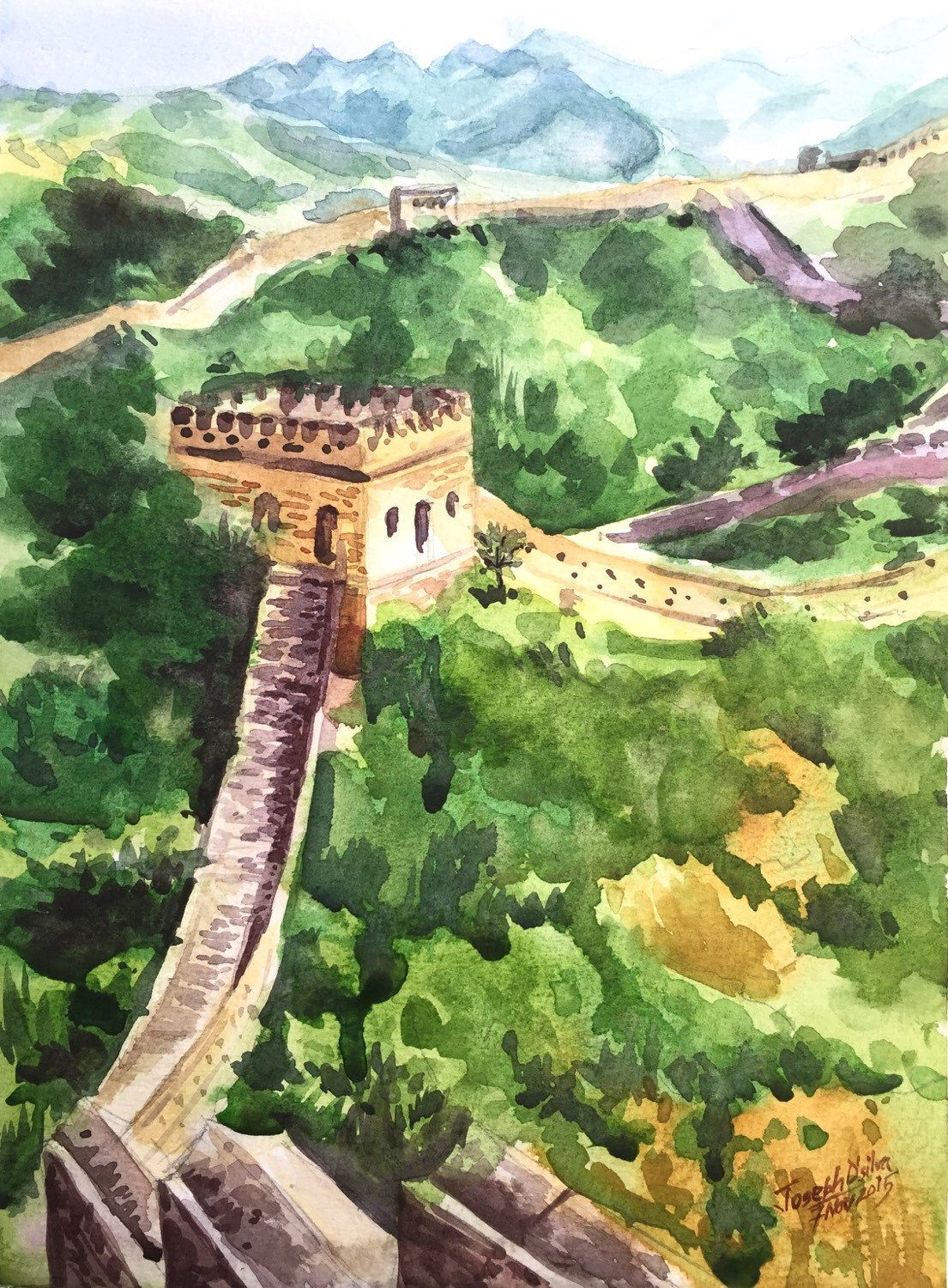 Great Wall Of China Watercolor Painting Watercolors Paintings