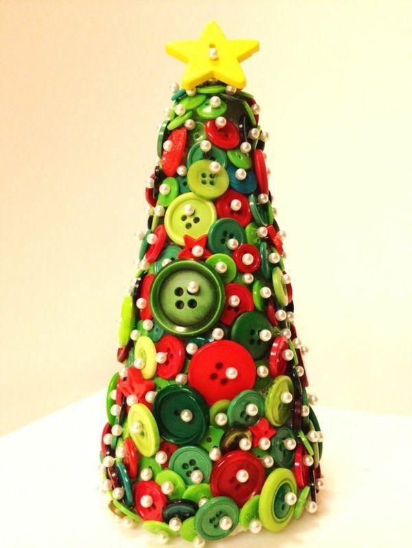 1001 ideen f r basteln mit kn pfen von freshideen kn pfe weihnachten basteln und - Dekoideen weihnachtsbaum ...