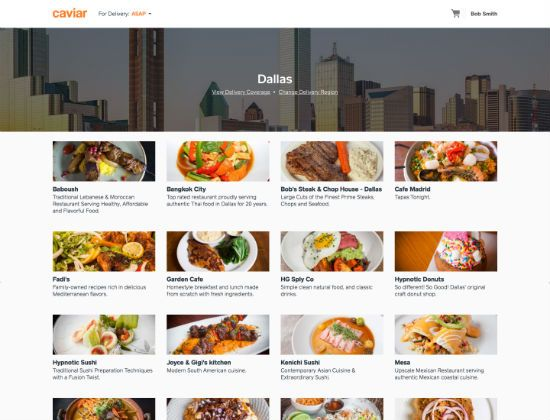 Caviar The Restaurant Delivery Service From Square Is Now Delivering In Dallas Restaurant Delivery Food Delivery App Moroccan Restaurant