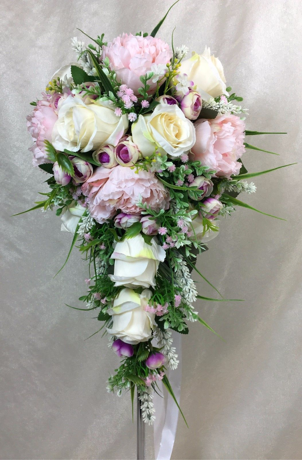Artificial Silk Flower Ivory Rose/Lavender L/Pink Peony