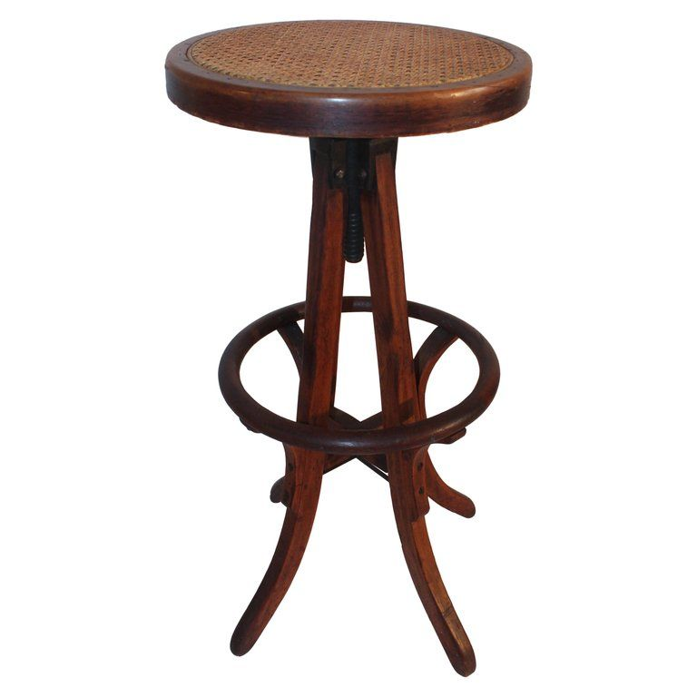 1stdibs Iron Wood Adjustable Bent Swivel Industrial American Stool Metal Chairs Stool Oak Bar Stools