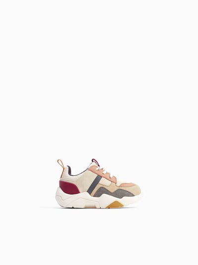 Image 1 Of Contrasting Sneakers From Zara Girls Shoes Kids Cute Baby Shoes Kids Shoes