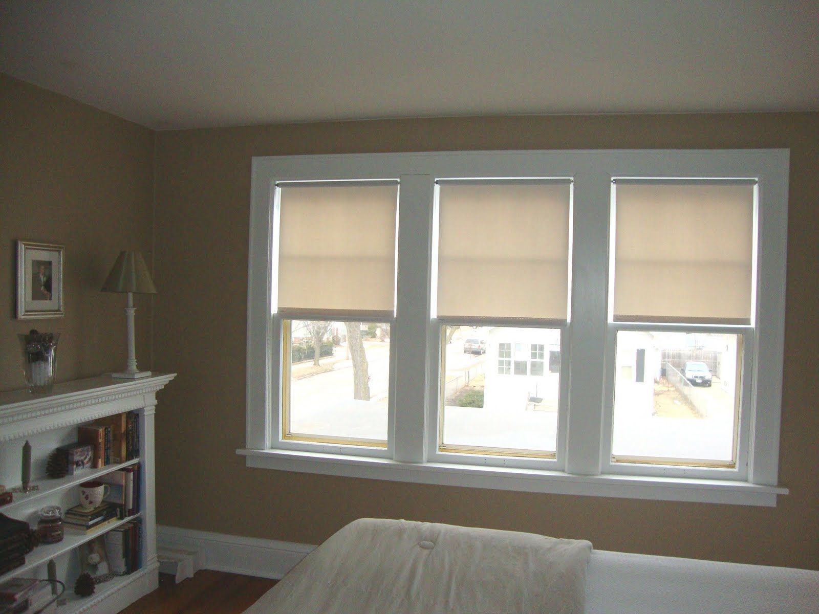 White triple single hung window completed with for Shades for bedroom windows