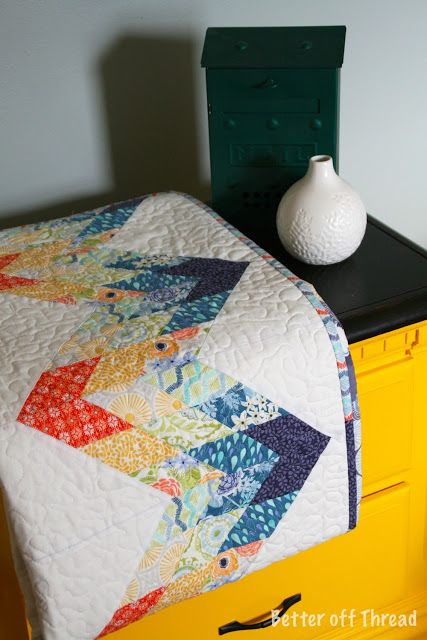 Moda Bake Shop: 'Sunnyside' Diamond Zig-Zag Quilt by 'Better Off Thread'.
