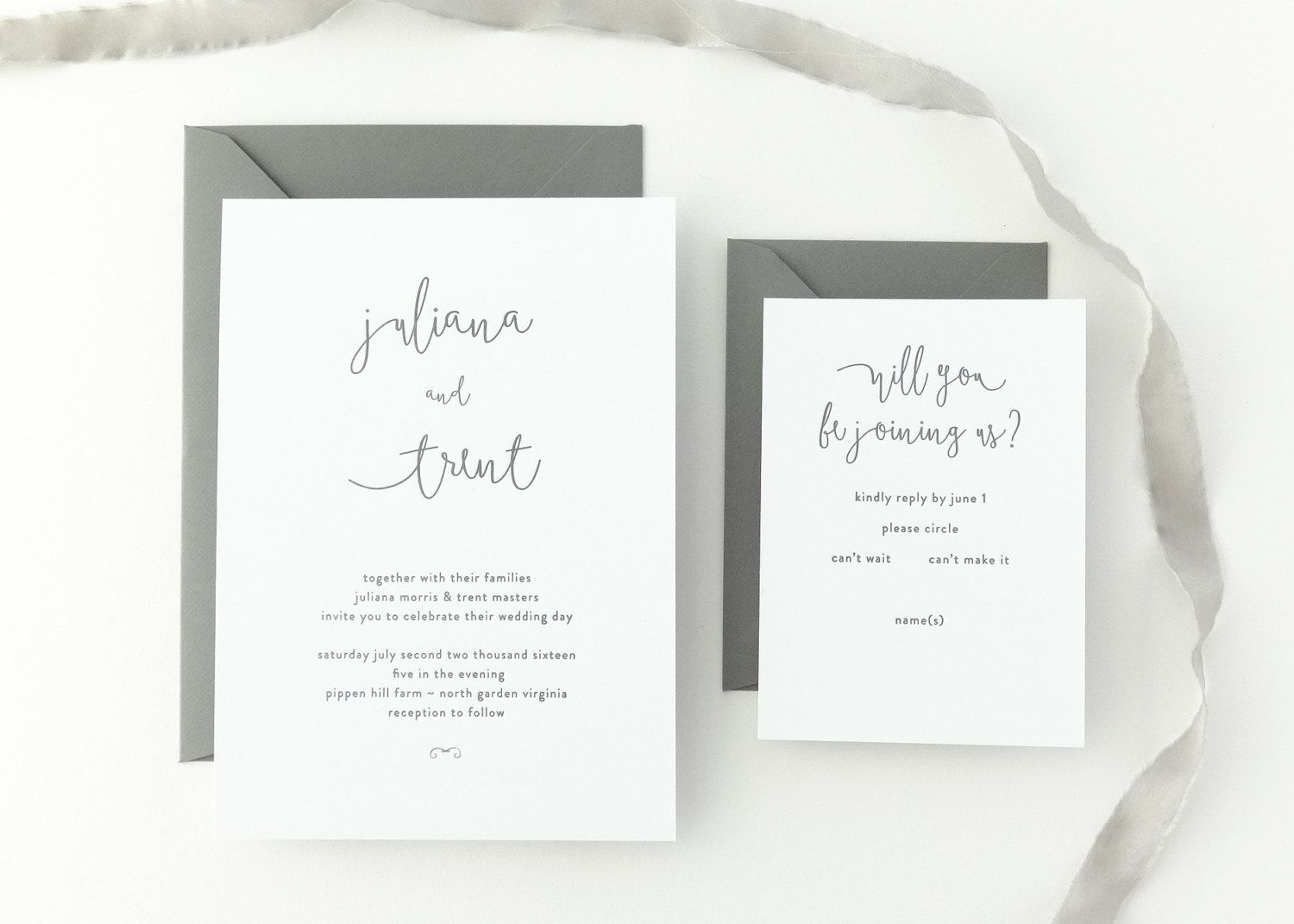 PAPER SAMPLES Juliana Simple Wedding Invitation / Save the Date ...