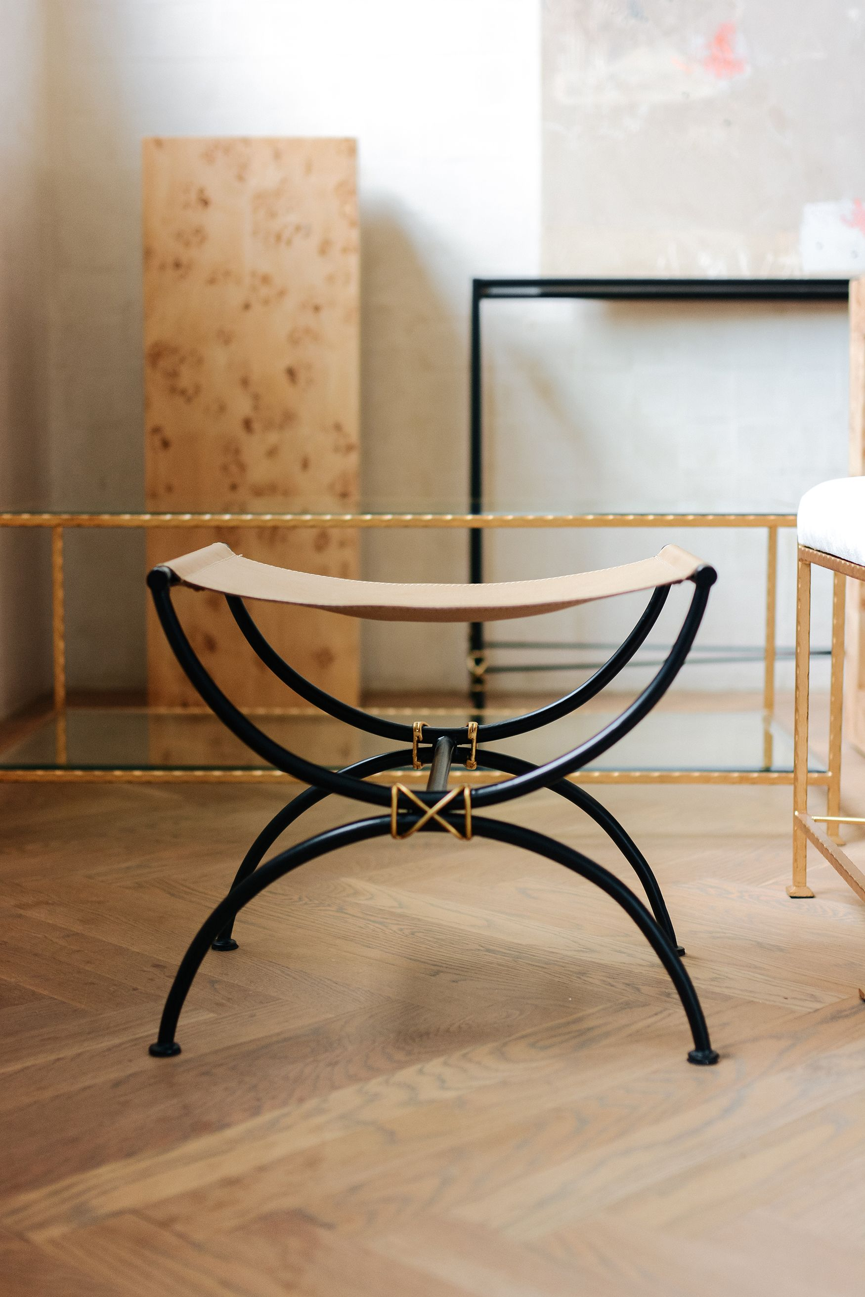 the chlo stool from ave home features a leather sling seat with top rh pinterest com