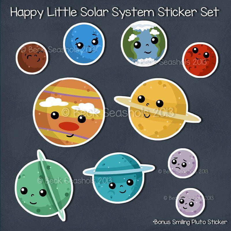 Cute Planets Sticker Sheet - planner stickers - solar ...