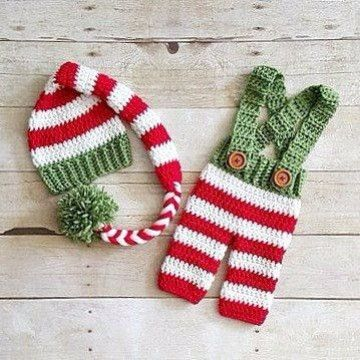 Crochet Baby Striped Christmas Hat Beanie Stocking Cap Pants Overalls Set  Red Green White Handmade Photography Photo Prop Baby Shower Gift Available  from ... - Pantalones Tejidos A Crochet Para Bebes Navidatttt Pinterest