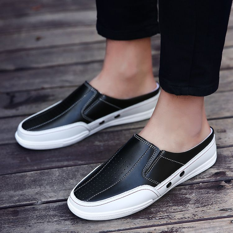 Cool Backless Loafers Open Backs Shoes Without Back Breathable Leather With  Holes Men Casual Shoes Boat Shoes Breathable 2bfc9beb5c