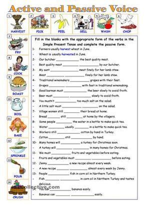 Gap fill and re-write exercise for active and passive voice