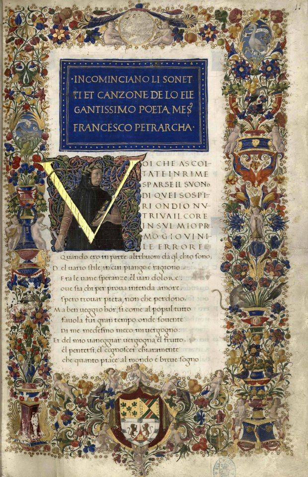 Manuscrito de escuela florentina (manu Matthaei domini Herculani de Vulterris) de las obras de Petrarca. Realizado para el primer duque de Urbino Federico III de Montefeltro (1444-1482). Contiene las Rimas y los Triunfos.  Vía Musei Italiani
