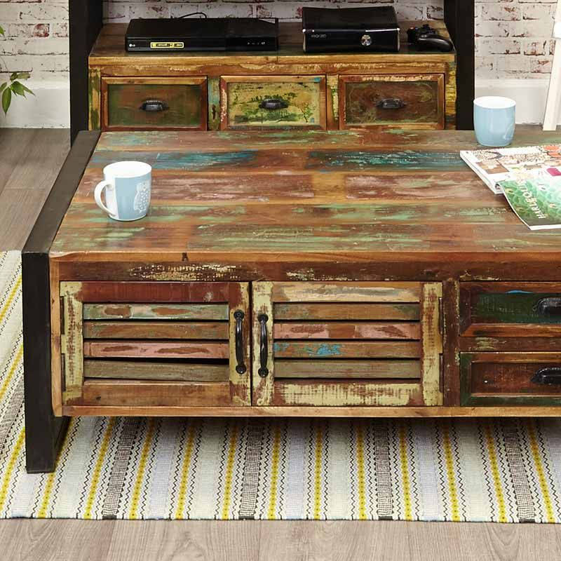 Urban Chic Reclaimed Wood 4 Door 4 Drawers Large Coffee Table