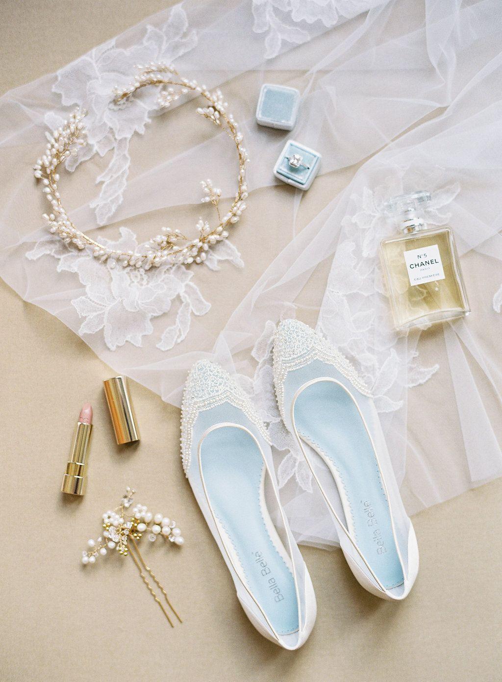 Beaded Ivory Flats for Wedding