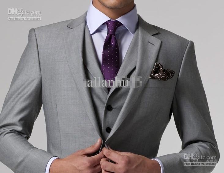 High quality Light gray Groom Tuxedos Groomsmen Best Man Men ...