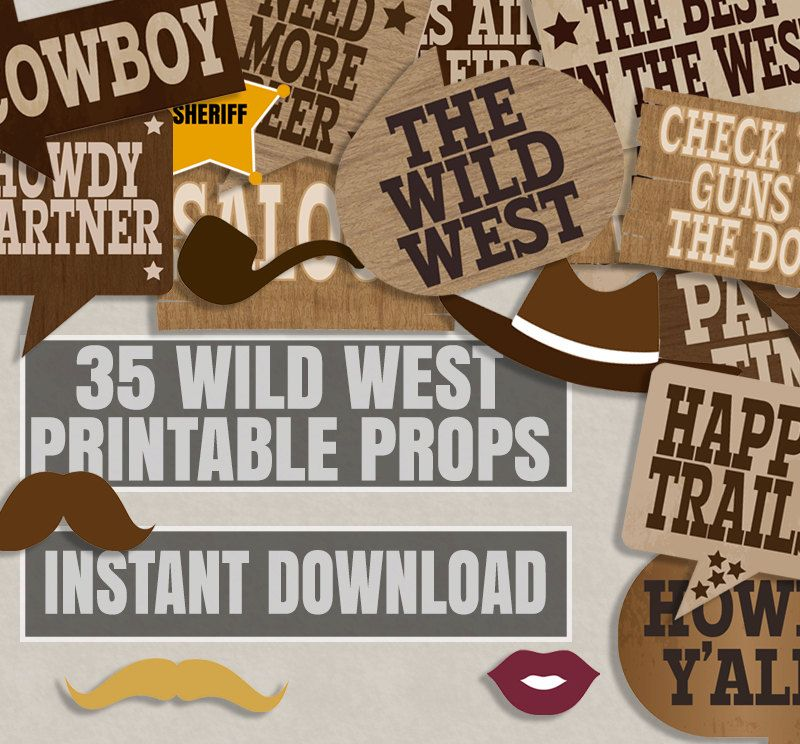 35 Cowboy party printables photo booth props