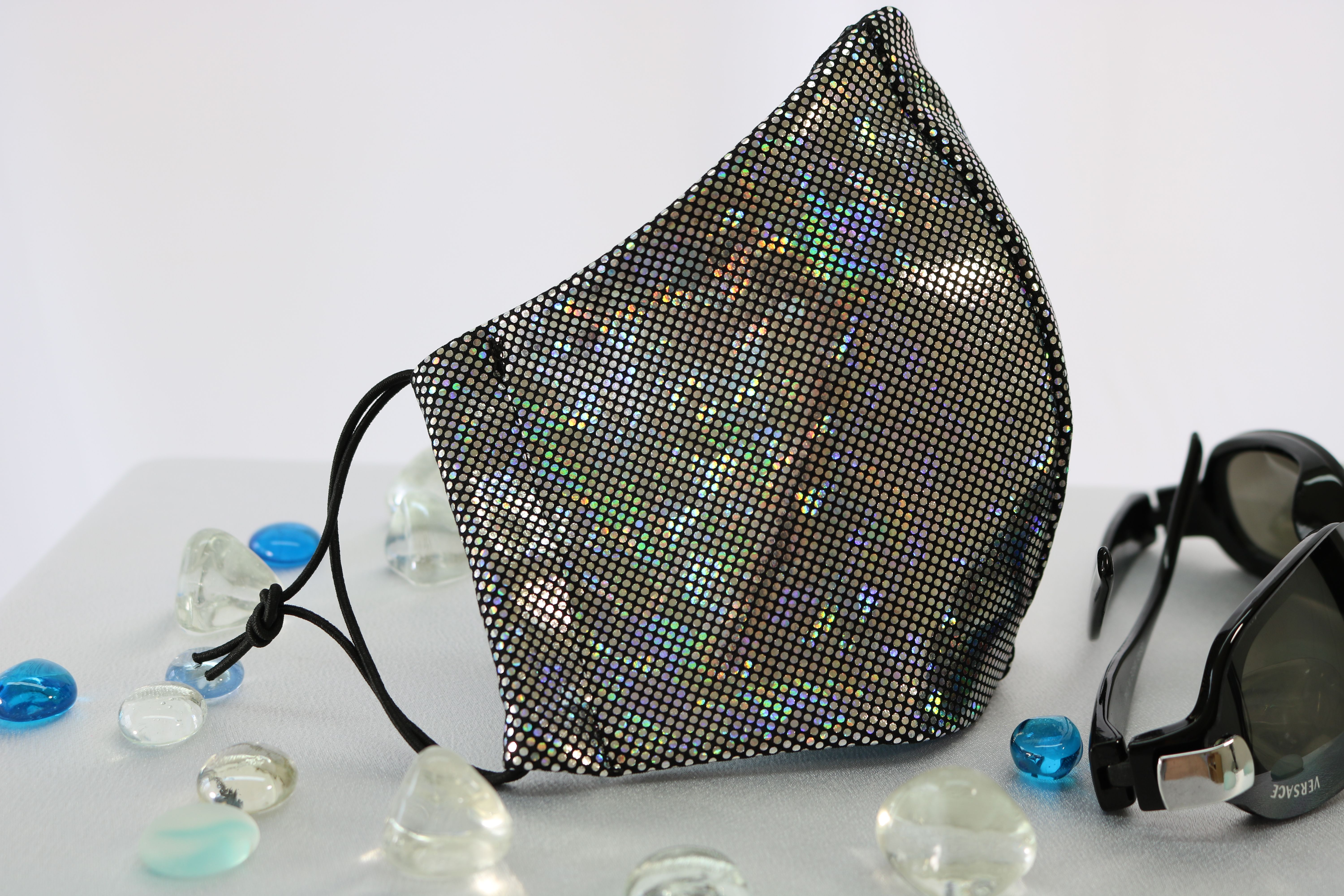 Black Silver Hologram Rave And Festival Face Cover Dust Mask