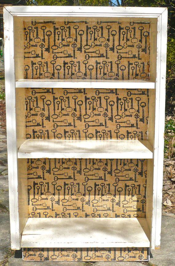 Wood Bookcase Vintage Keys Decoupaged Burlap Fabric Painted Furniture Wood Bookcase Vintage