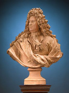 This monumental French terra cotta portrait bust is in the majestic likeness of Edouard Colbert ~ M.S. Rau Antiques