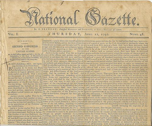 james madison essays for the national gazette 1792
