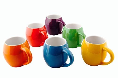 Primrose Colorful Mugs Set Of 6 Ceramic Small Mouth 14oz Per