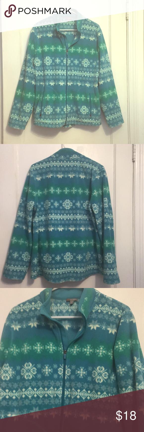CLEARANCETalbots Turquoise Snowflake Fleece Pinterest