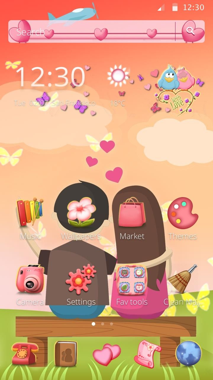 Cute Love Theme For Android Users Available For Free Download Apply This Theme On Your Phone With Cm Launcher Turn A Bo Android Theme Theme Music Wallpaper