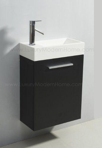 210 Alexius Small Vanity Sink 20 Inch Espresso Black Wall Hung