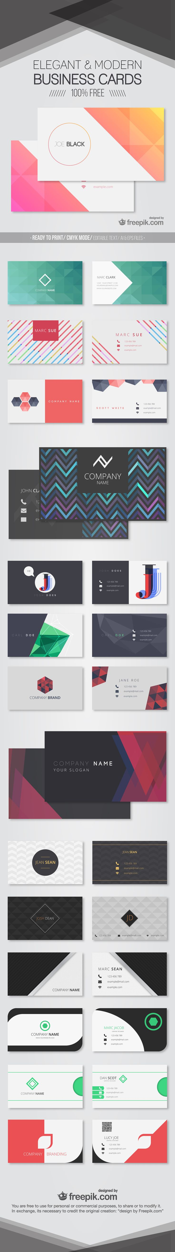 Free Modern Business Card Templates  Business Cards Business