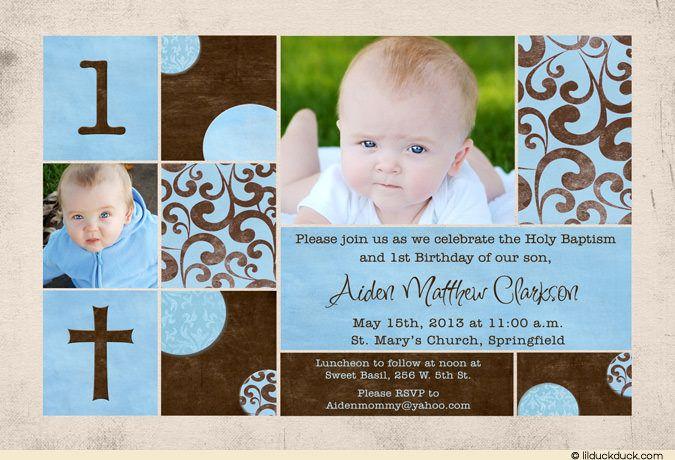 Chic photo blue brown baby pink scrapbook cross baptismal1st chic photo blue brown baby pink scrapbook cross first birthday invitationsbaptism stopboris Gallery