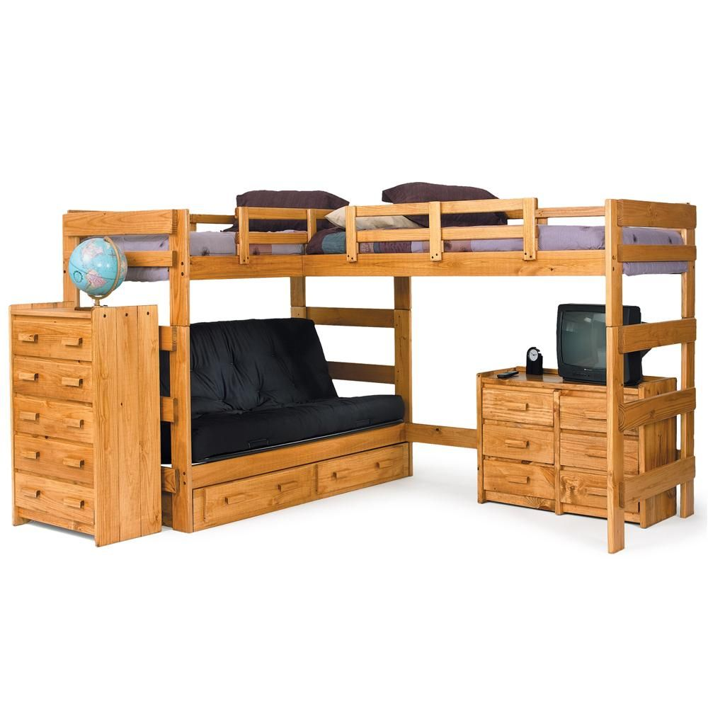 Woodcrest Heartland Br Casual Style L Shaped Loft Bed With Built In Futon