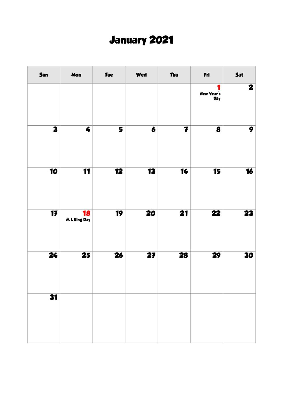 Printable Calendar January 2021 With Holidays Blank Portrait Landscape In 2020 Printable Calendar Calendar Print Calendar
