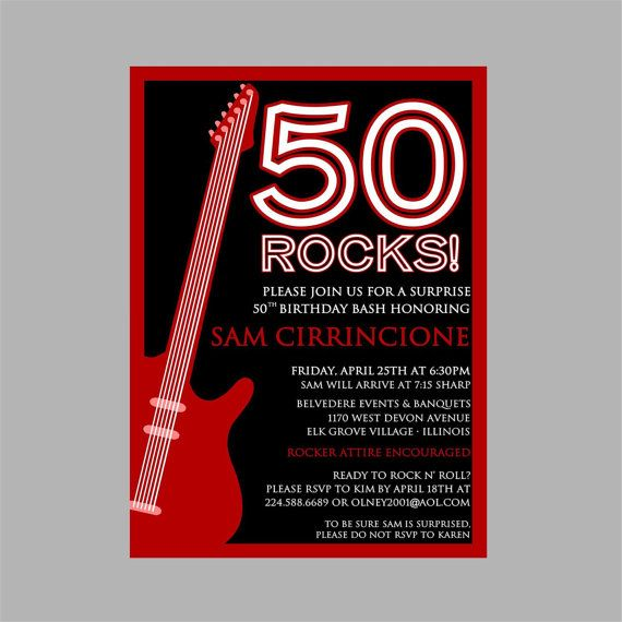50th Birthday Rock N Roll Party Invitation – Rock and Roll Party Invitations