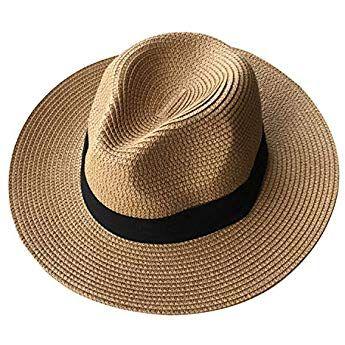 751059cbcbca4 Lanzom Women Wide Brim Straw Panama Roll up Hat Fedora Beach Sun Hat UPF50+  (A