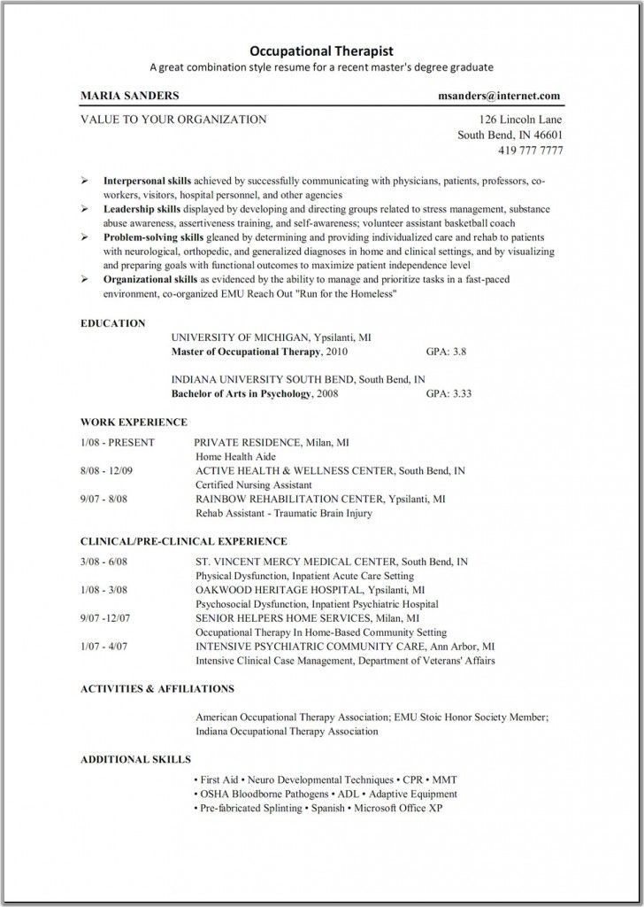 Occupational Therapy Resume Resume Job Resume Samples