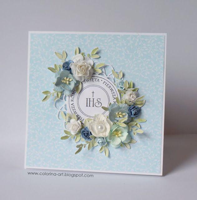 Colorina Kartka Komunijna Dla Chlopca First Communion Cards Card Making Flowers Cards Handmade