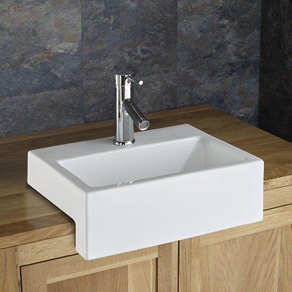 Semi Recessed Bathroom Basin Rectangular In White Ceramic 430mm X 330mm Sink Anadia Ceramic Bathroom Sink Countertop Basin Bathroom Basin