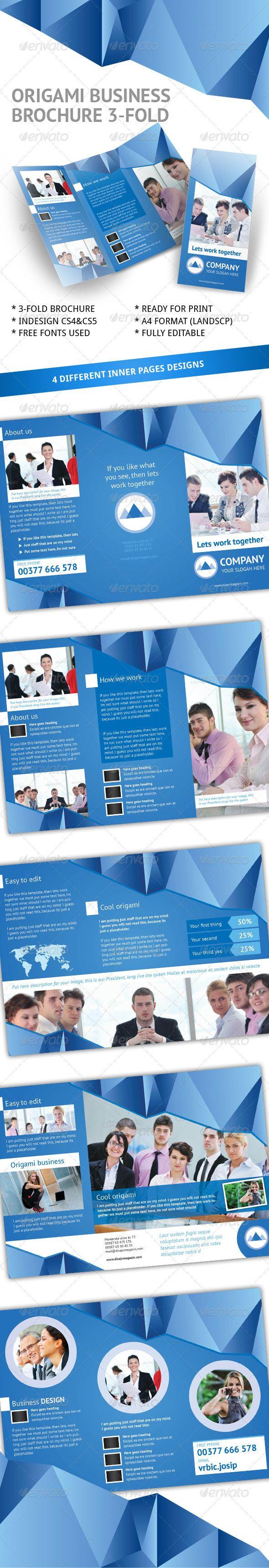 business origami 3 fold brochure indesign template book design