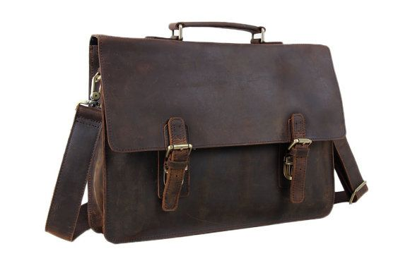15'' Crazy Horse Leather Briefcase Messenger Bag door sunmarkstudio
