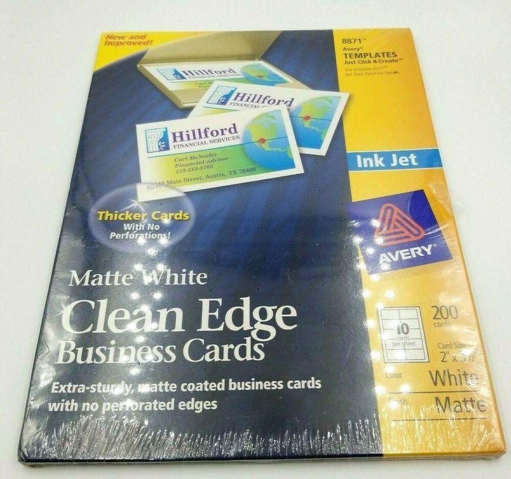 Avery 8871 Clean Edge Matte White Ink Jet White Business Cards 200 Card Count Avery Jet White White Ink Cleaning